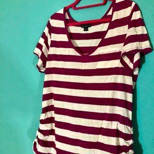 Fushia and white stripe v neck tee shirt.